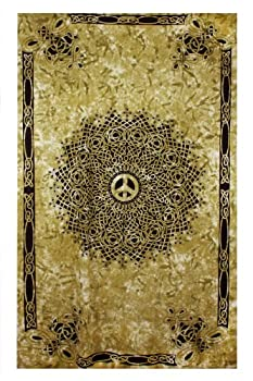 Sunshine Joy Celtic Peace Sign Tie Dye Tapestry - 60x90 Inches - Beach Sheet - Hanging Wall Art