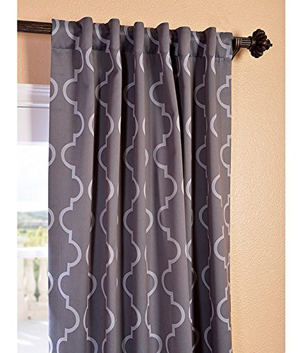 """HPD Half Price Drapes BOCH-KC21-84 Blackout Room Darkening Curtain (1 Panel), 50 X 84, Seville Grey & Silver - Sold Per Panel 100% Polyester 3"""" Pole Pocket with Back Tabs - living-room-soft-furnishings, living-room, draperies-curtains-shades - 516hC9PS7TL -"""