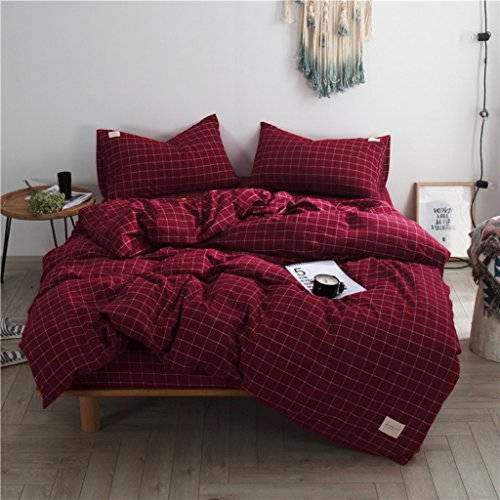 (Haru Homie 3-Piece 100% Washed Cotton Duvet Cover Simple Style Bedding Set with Zipper Closure - Ultra Soft and Easy Care, (Queen, Burgundy/Pink Grid))