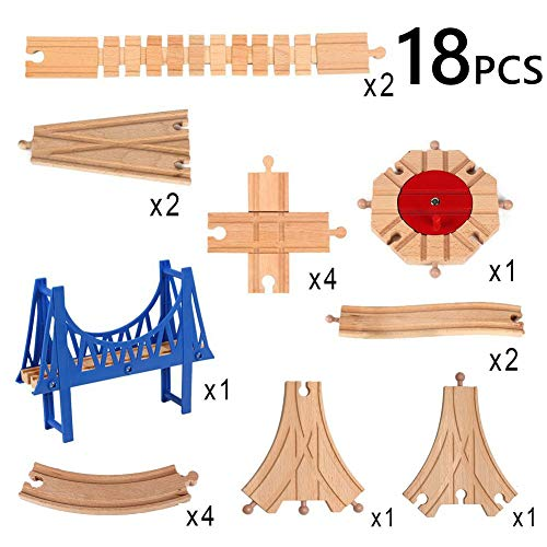 Railway Train Track Expansion Accessories Set Toy for Kids, Including 8 Ways Turntable Bridges Swith Connectors Adapters Compatible with Thomas Brio IKEA Chuggington Train Tracks ()