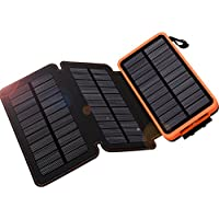 Solar Charger 24000mAh, WBPINE Solar Power Bank Waterproof Dual USB Output with 3 Solar Panels External Battery Bank(Orange)