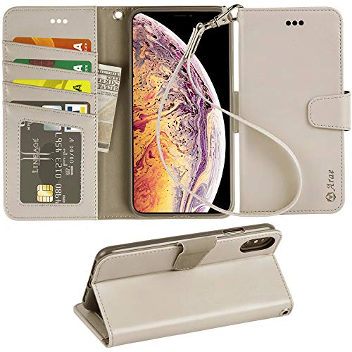 Leather Case Cover Case - Arae Wallet Case for iPhone Xs Max PU Leather flip case Cover [Stand Feature] with Wrist Strap and [4-Slots] ID&Credit Cards Pocket for iPhone Xs Max 6.5