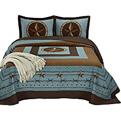"Chezmoi Collection Tucson 3-Piece Western Star Cabin Lodge Design Soft-Washed Quilt Set Oversized 100"" x 106"" (Queen, Turquoise)"