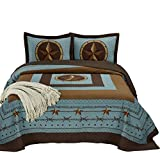 Chezmoi Collection Tucson 3-Piece Western Star Cabin Lodge Design Soft-Washed Quilt Set Oversized 118'' x 106''(King, Turquoise)