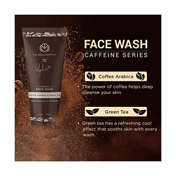 The Man Company Caffeine Face Wash with Coffee Arabica Green Tea   Deep Cleanser   Rejuvenates   Dirt Removal   Hydrates… 2021 August Rich in Coffee Seed Extract: Apart from rejuvenating and brightening your skin, coffee seed extract has anti ageing benefits and provides effective UV protection. Improves blood circulation: The coffee seed powder is rich in antioxidants and improves blood circulation. It visibly reduces the appearance of fine lines. Rejuvenates skin: With extra fine coffee granules at work, this face wash gently strips away all dirt & excess oil from your skin, leaving it rejuvenated and radiant