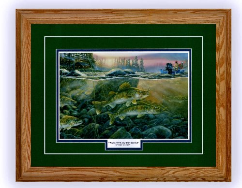 (Terry Doughty Framed & Matted Wildlife Art Walleyes On The Rocks )