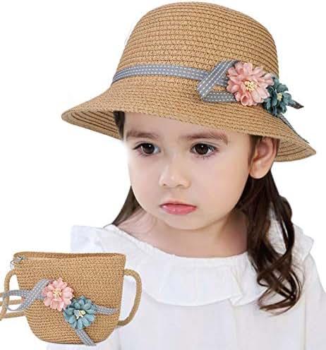 Sumolux Straw Hats Girls Kids Sun Hats Summer Beach Hats Straw Woven Pocket Suit Outdoor Activities