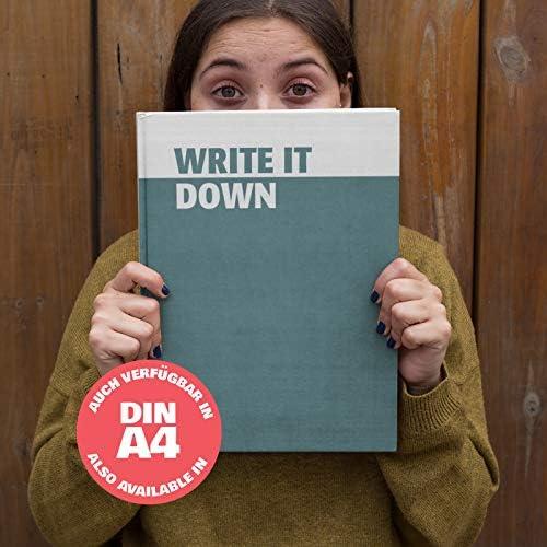 42thinx Notizbuch Write It Down - Türkis DIN A4 kariert I Notizblock mit Hardcover 192 Seiten mit Designcover I Hochwertiges Journal mit Lesezeichen und Gummiband I Notizblock gebunden Motiv