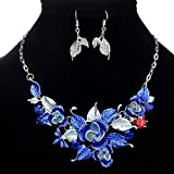 style9 blue - Women Fashion Pendant Crystal Flower Choker Chunky Statement Chain Bib Necklace