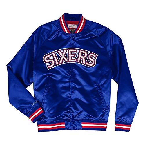 Mitchell & Ness NBA Philadelphia 76ers Lightweight Satin Jacket (Blue, L) (Mitchell And Ness Jacket)