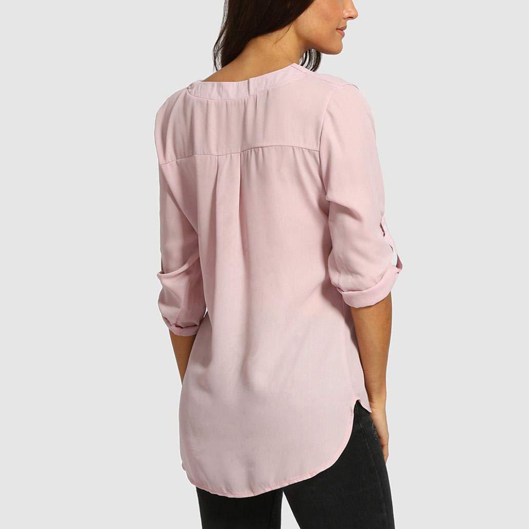 Blusa Mujers Yesmile Camiseta Camisetas de chifón de Color Puro con Cuello en V para Mujer Blusas de túnica Sueltas Ocasionales: Amazon.es: Ropa y ...