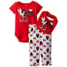 Disney Baby-Girls Newborn Minnie Mouse 3 Piece Bow Print Bib Set, Chinese Red, 3-6 Months