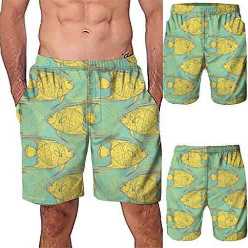 NUWFOR Men Casual 3D Graffiti Printed Beach Work Casual Men Short Trouser Shorts Pants(Yellow,US:S Waist26.0-29.9'') by NUWFOR (Image #1)