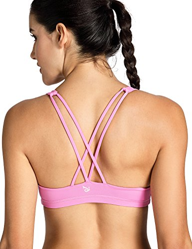 CRZ YOGA Women's Light Support Cross Back Wirefree Removable Cups Yoga Sport Bra Light Pink - Bra Triathlon Top