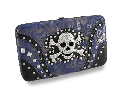 Textured Paisley Wallet W/Metal Rhinestone Encrusted Skull And Crossbones Vinyl Womens Wallets Blue