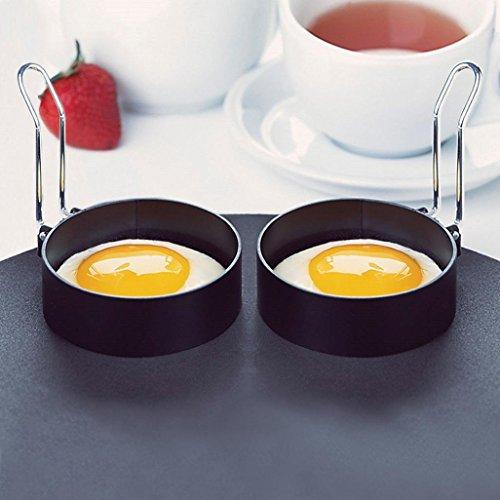 Pancakes Molds, Fheaven 2 PCS Nonstick Stainless Steel Handle Round Egg Rings Shaper Pancakes Molds