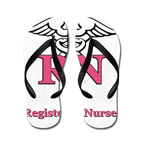 Cafepress Geregistreerde Verpleegster - Flip Flops, Grappige String Sandalen, Strand Sandalen Zwart