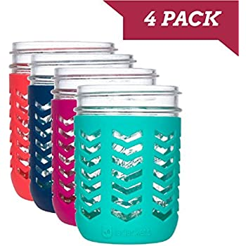 JarJackets Silicone Mason Jar Protector Sleeve - Fits Ball, Kerr 16oz (1 pint) WIDE-Mouth Jars   Package of 4 (Multicolor) …