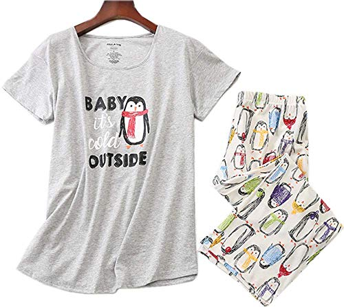 (Women's Cotton Pajama Set Capri Pants with Short Tops Sleepwear 2 Piece Knit Nightgown Lucky008-Gray Penguin-XL)