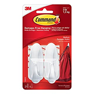 Command Designer Hooks, Medium, White, 2-Hooks (17081ES), Organize your dorm