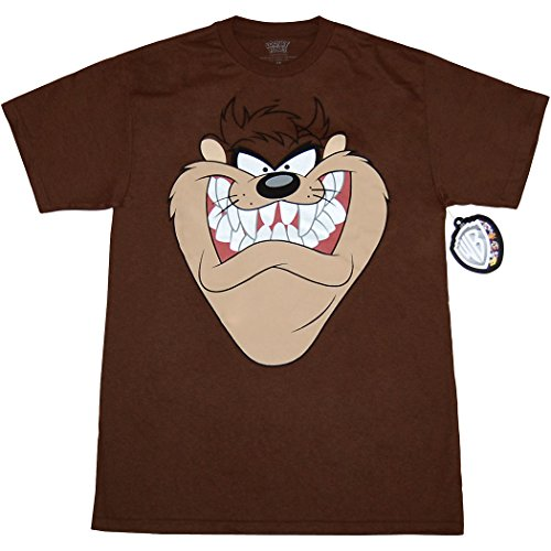 Looney Tunes Character Face T-Shirt (Taz, Brown, Medium)