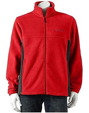 Men's Flattop Mountain Easy-Care Fleece Jacket, Red/Black, L