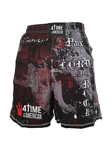 4-Time Shorts, MMA, Fight Shorts, WOD, BJJ, NoGi, Powerlifting, Crossfit, MMA, Muay Thai, Jiu Jitsu, Black, Camo, Blue, Red (Sizes: Youth 3XS to Adult 3XL)