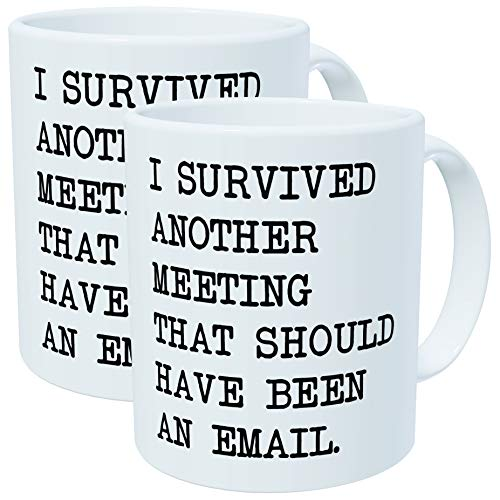 Pack of 2 - I survived another meeting that should have been an email - 11OZ ceramic coffee mugs - Best funny and inspirational gift -