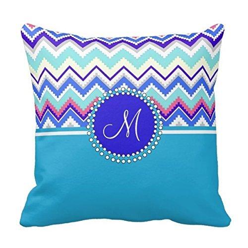 Decors Monogram Blue Aztec Andes Chevron Zig Zags Pillow Cas