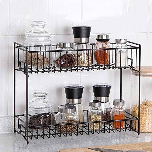 (NEX 2-Tier Standing Rack Jars Bottle Spice Rack Countertop Storage Organizer for Kitchen Bathroom Home Brown)