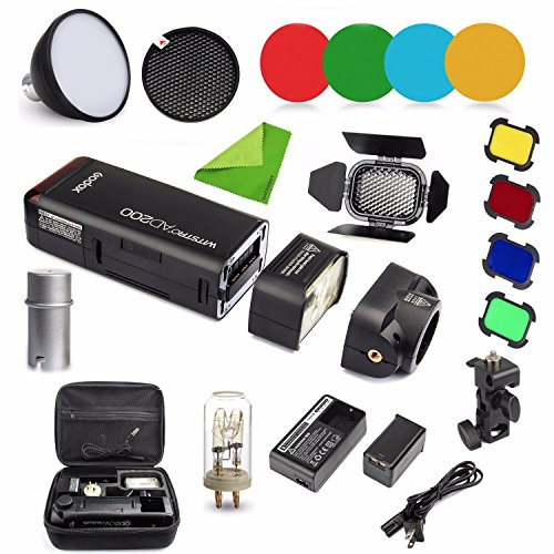 Godox AD200 Kit 200Ws 2.4G TTL Flash Strobe 1/8000 HSS Cordless Monolight w/ 2900mAh Lithimu Battery and Bare Bulb/Speedlite Fresnel Flash Head to Cover 500 Full Power Shots w/ EACHSHOT Cleaning Cloth by Godox