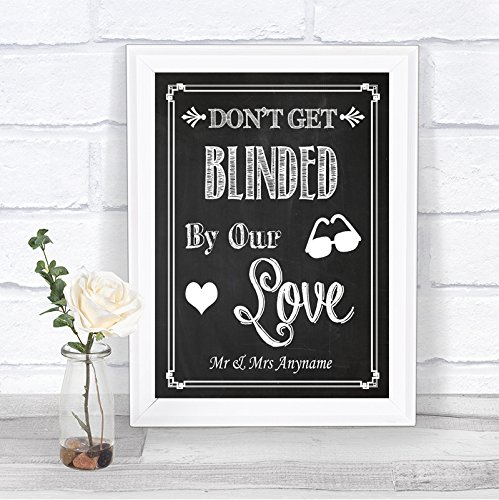 Chalkboard Style Sunglasses Favor Blinded By Love Vintage Personalized Wedding Sign