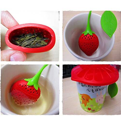 Lucrative shop Lovely Fruit Strawberry Shape Silicone Tea Herbal Spices Leaf Infuser Strainer