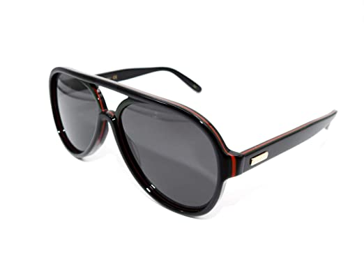 f92aa5c72e4 Image Unavailable. Image not available for. Color  Gucci GG0270S - 002  Black Pilot Sunglasses 57mm