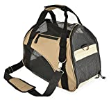 Barkiz Pet Carrier w/ Side and Top Mesh ~ Airline Approved Duffel Bag (17x8x12in, Tan)