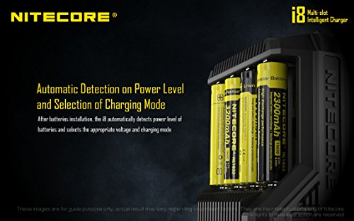 NITECORE i8 Eight Bays Smart Battery Charger for Li-ion/IMR/Ni-MH/Ni-Cd 26650 22650 18650 18490 18350 16340 RCR123 14500 AA AAA AAAA C D USB with EdisonBright BBX3 Battery Carry case by EdisonBright (Image #4)