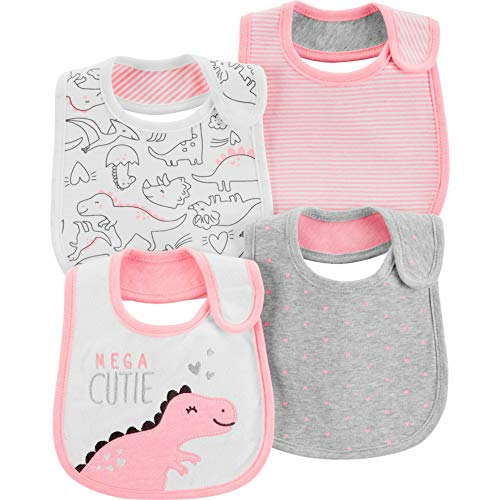 Carters Baby Girls 4-Pack Teething Bibs (Pink/Dino)