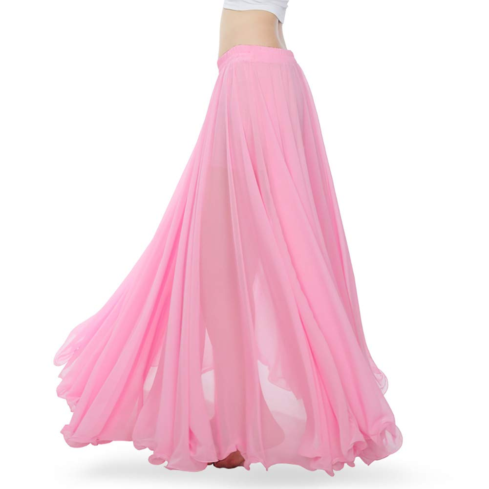ROYAL SMEELA Women's Belly Dance Skirt ATS Voile Maxi Full Tribal Bellydance Chiffon Skirt, Pink, One Size by ROYAL SMEELA