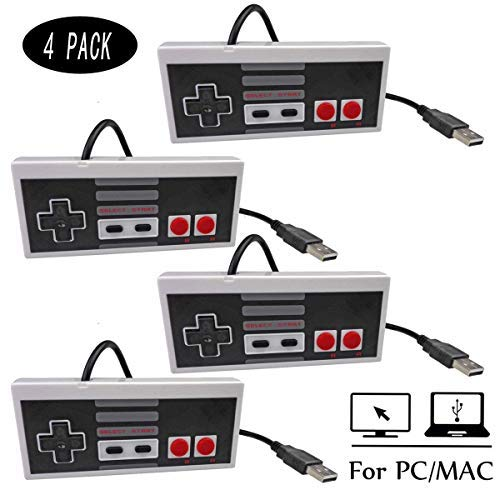 Mekela 2 Packs 5.8 feet Classic USB wired Controller Gamepad resembles NES for Windows PC MAC Gray and Gray