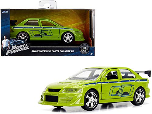 New DIECAST Toys CAR JADA 1:32 W/B - Metals - Fast & Furious - Brian's Mitsubishi Lancer Evolution VII (Green) 99789 (Fast And The Furious 1 Green Car)
