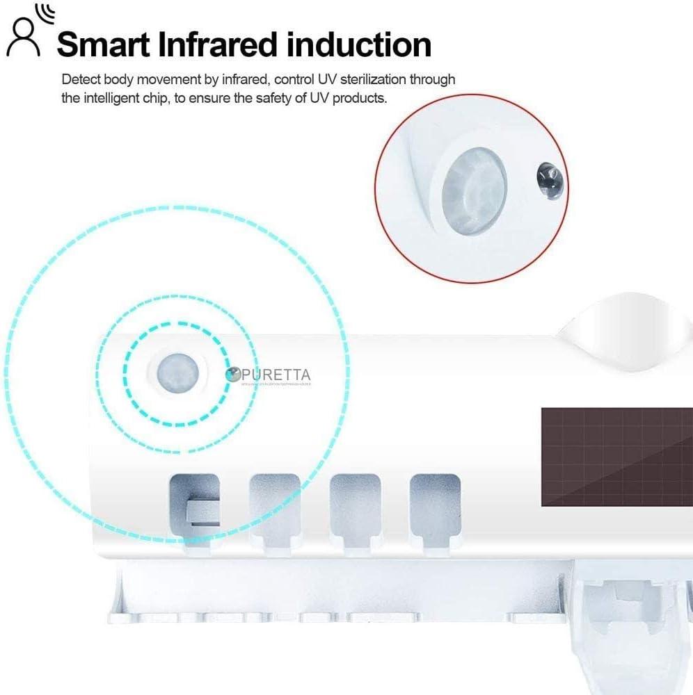 Porta Spazzolino Elettrico Sterilizzatore UV Portaspazzolino Dispenser per Dentifricio 4 Porta per Spazzolini da Denti Elettrici Supporto da Muro