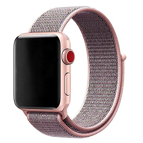 Smart Watch Band Pink Sand Sport Loop, Uitee Newest Woven Nylon Band for Apple Watch Series 38mm 3/2/1, Comfortably Light With Fabric-Like Feel Wrist Strap Replacement with Classic Buckle