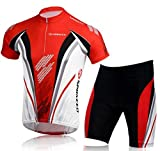 sponeed Cycling Kits for Men Biker Shirt and Shorts Padded Bicycle Riding Set Uniform Suits XXL US Red
