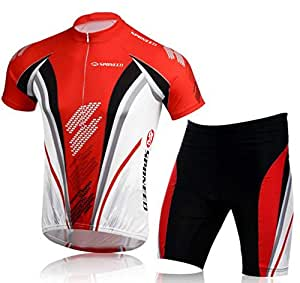 Bicycle Jersey Shorts Men's Bicycling Road Bike Suit Clothing Outfit Cycle Pants S US Red