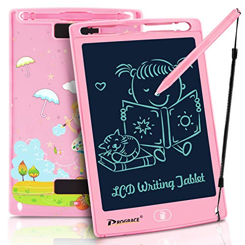 PROGRACE LCD Writing Tablet for Kids Learning Writing Board Magnetic Erase LCD Writing Pad Smart Doodle Drawing Board for Home School Office Portable Electronics Digital Handwriting Pads 8.5 Inch-pink ()