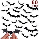 Unomor Halloween Decorations Bat Wall Decorations 60PCS 3D Bats Wall Decal, Halloween Home Window Decorations-60PCS/4 Size