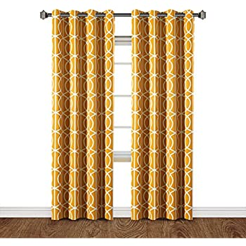 H.Versailtex Printed Blackout Room Darkening Printed Curtains Window Panel  Drapes   Grommet Top   (Mustard Color) 2 Panels Of Set   52 Inch Wide By 84  Inch ...