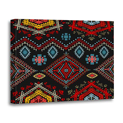 Tinmun Painting Canvas Artwork Wooden Frame Colorful Pattern Ethno Ethnic Boho Repeatable Tribal Red African 16x20 inches Decorative Home Wall Art