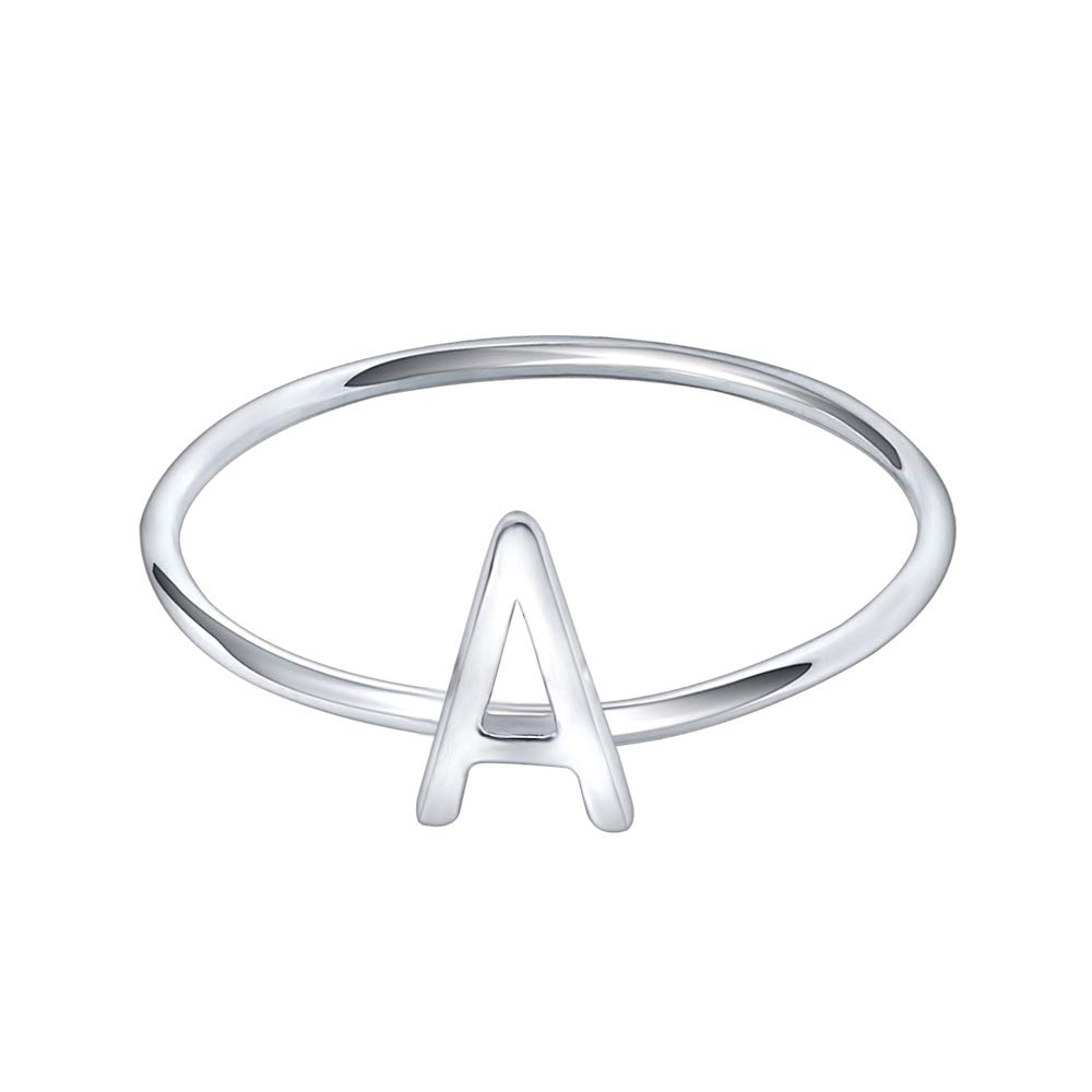 AoedeJ 925 Sterling Silver Stackable Initial Letter Rings Capital Letter Ring Charm Initial Band for Women (A, 6)