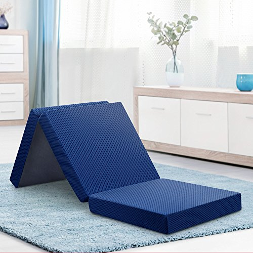 (Olee Sleep OLR04TM02S Tri-Folding Memory Foam Topper, 4'' H, Blue)